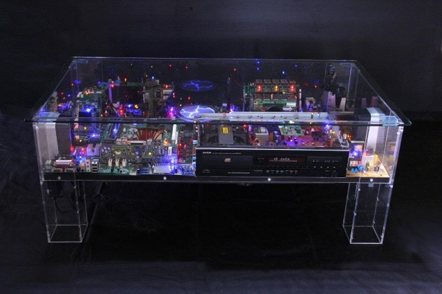 Artist turns digital waste into sparkling small metropolises inside glass cof - Table basse high tech ...