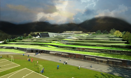 Beautiful Green Roofed School For French Students