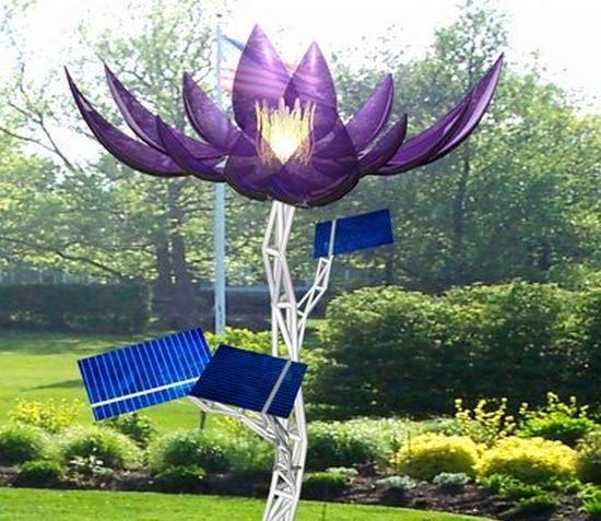 Heliotropis Solar Powered Flower With Glass Petals