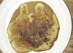 A holy image on a pancake